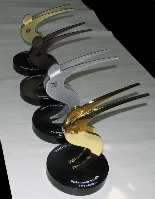 Trophée - Laiton et aluminium - Banque Laurentienne