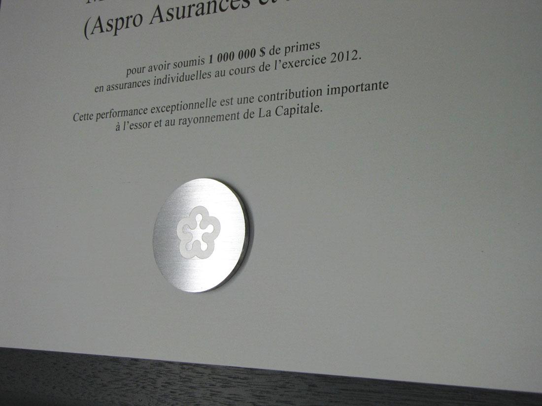 Plaque commémorative – Aluminium imprimé – La Capitale