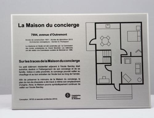 Plaque commémorative – Aluminium imprimé – Commission scolaire de Montréal
