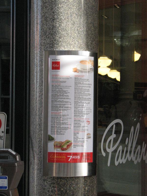 porte menu pour le magasin paillard