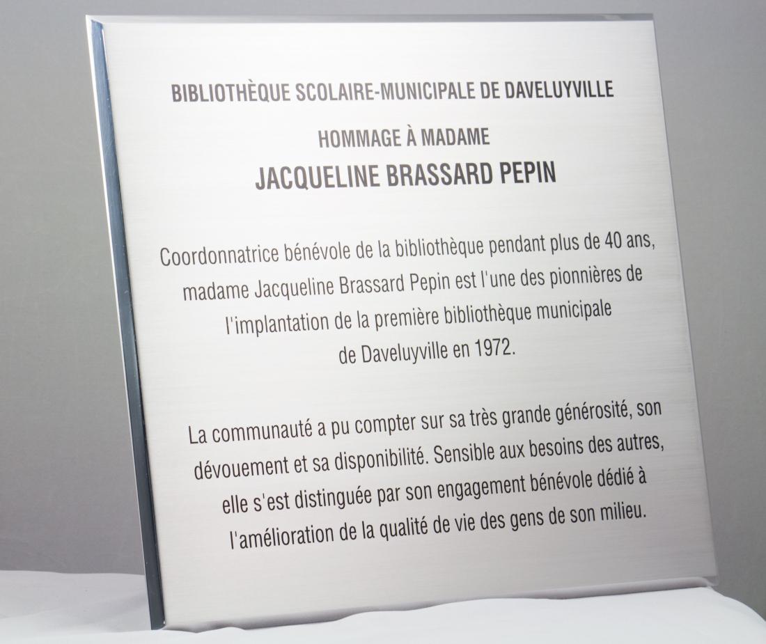 Plaque Commémorative en aluminium imprimé - Ville de Daveuyville